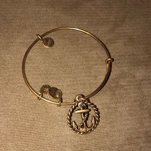 Alex and Ani Gold Bracelet with Anchor Charm